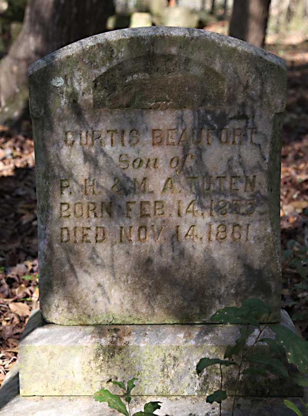 Curtis Beaufort Tuten Gravestone Photo