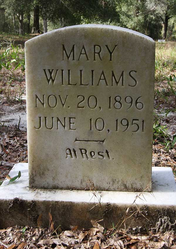 Mary Williams Gravestone Photo