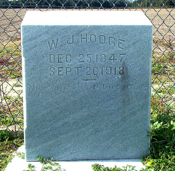 W.J. Hodge Gravestone Photo