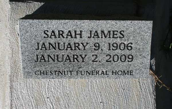 SARAH JAMES Gravestone Photo