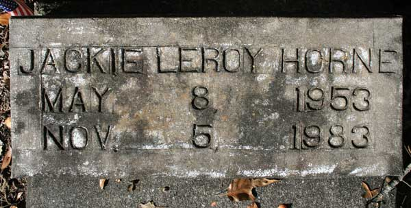 JACKIE LEROY HORNE Gravestone Photo