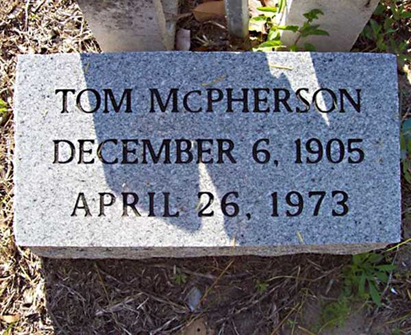 Tom McPherson Gravestone Photo