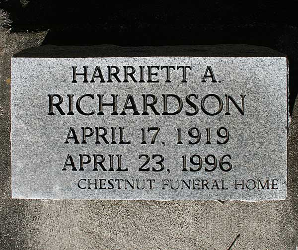 Harriett A. Richardson Gravestone Photo