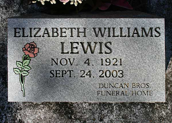 Elizabeth Williams Lewis Gravestone Photo