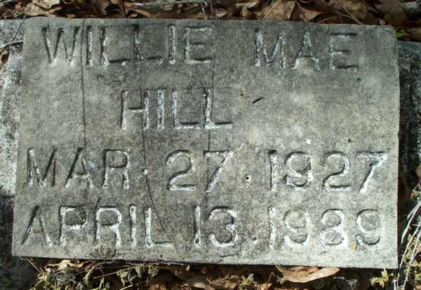 Willie Mae Hill Gravestone Photo