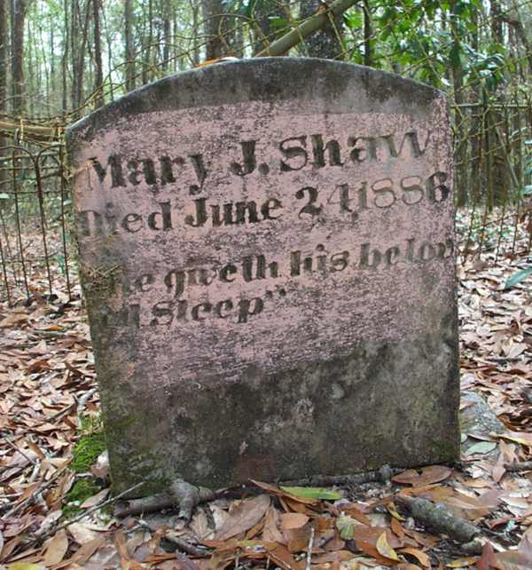 Mary J. Shaw Gravestone Photo