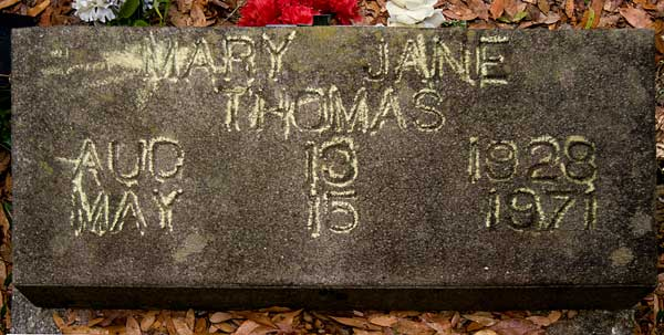 Mary Jane Thomas Gravestone Photo