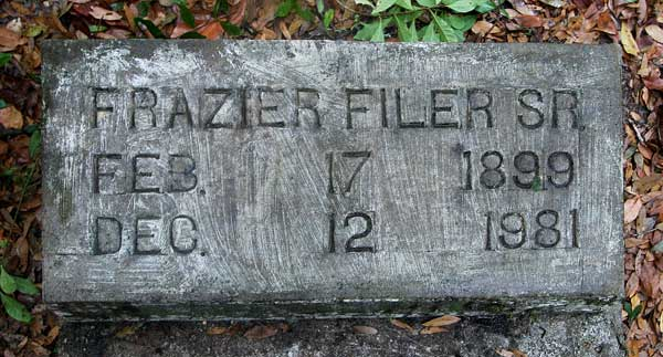 Frazier Filer Gravestone Photo