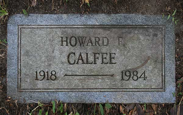 Howard F. Calfee Gravestone Photo