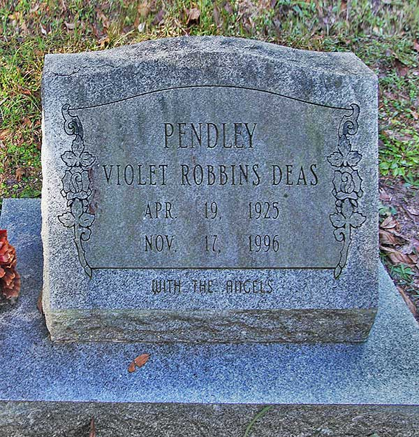 Violet Robbins Deas Pendley Gravestone Photo
