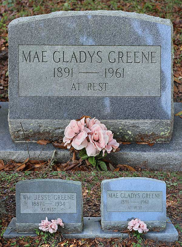 Mae Gladys Greene Gravestone Photo