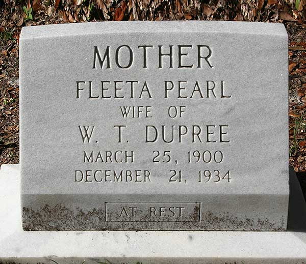 Fleeta Pearl Dupree Gravestone Photo
