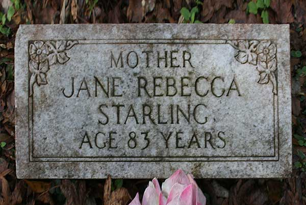 Jane Rebecca Starling Gravestone Photo