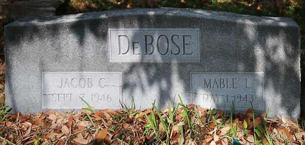 Jacob C. & Mable L. DeBose Gravestone Photo