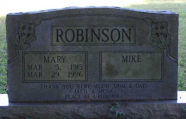 Mary & Mike Robinson Gravestone Photo