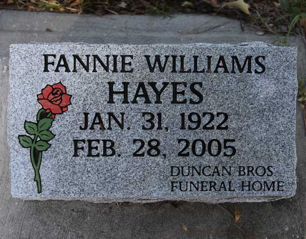 Fannie Williams Hayes Gravestone Photo