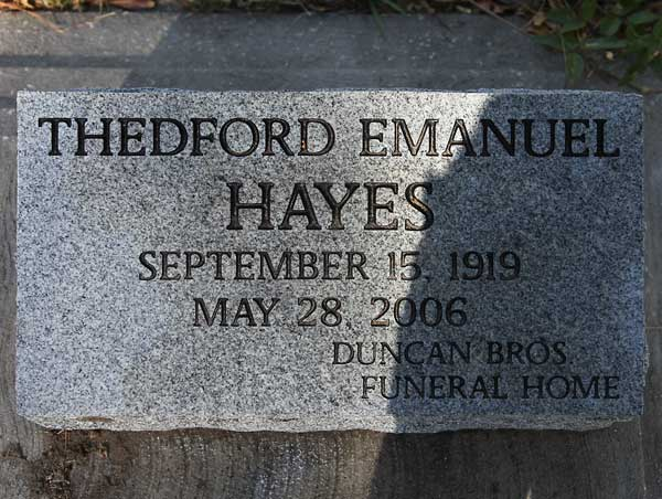 Thedford Emanuel Hayes Gravestone Photo