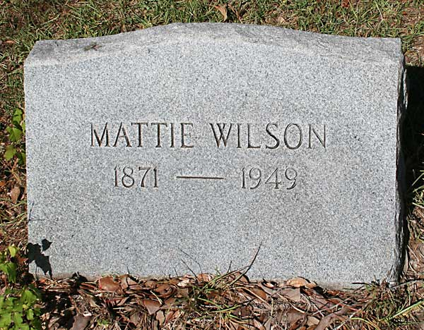 Mattie Wilson Gravestone Photo