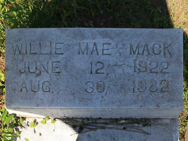 Willie Mae Mack Gravestone Photo