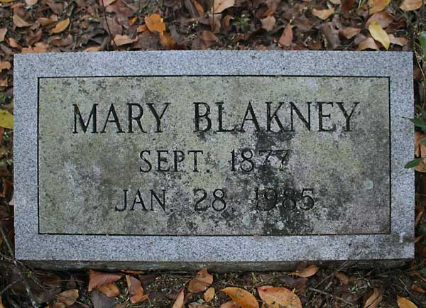 Mary Blakney Gravestone Photo