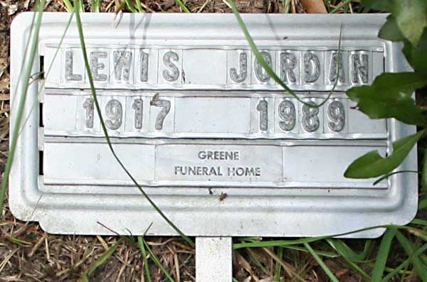 Lewis Jordan Gravestone Photo