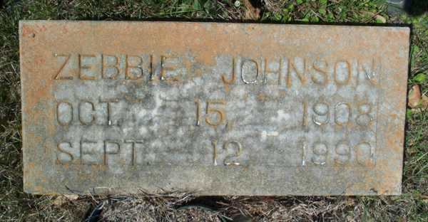 Zebbie Johnson Gravestone Photo