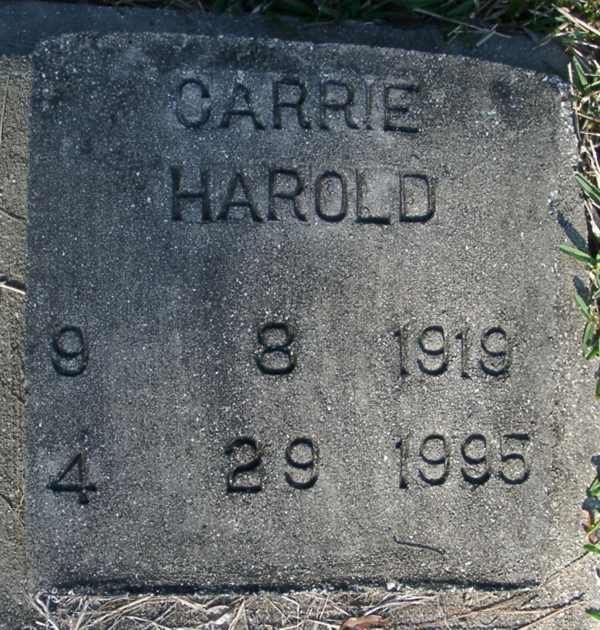 Carrie Harold Gravestone Photo