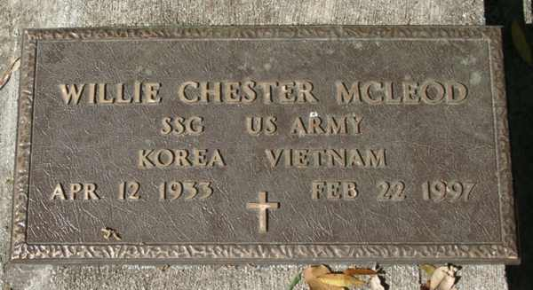 Willie Chester McLeod Gravestone Photo