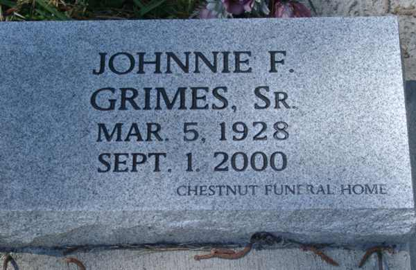 Johnnie F. Grimes Gravestone Photo