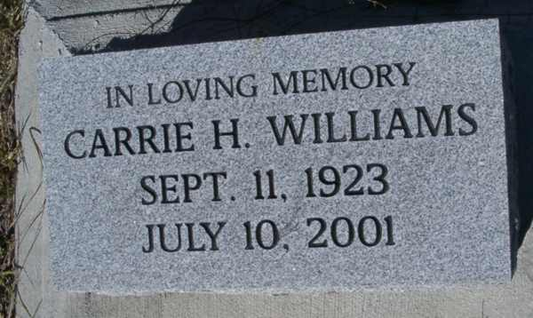 Carrie H. Wiliams Gravestone Photo
