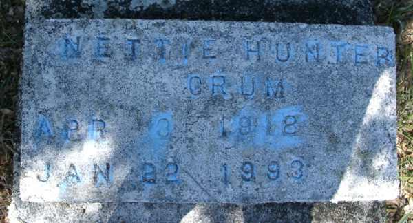 Nettie Hunter Crum Gravestone Photo