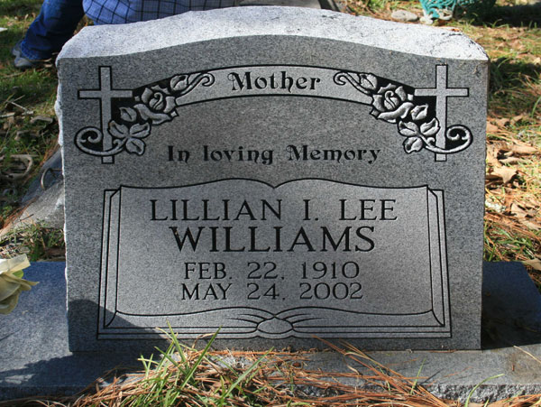 LILLIAN I. LEE WILLIAMS Gravestone Photo