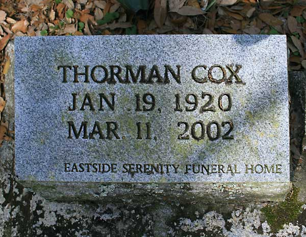 Thorman Cox Gravestone Photo