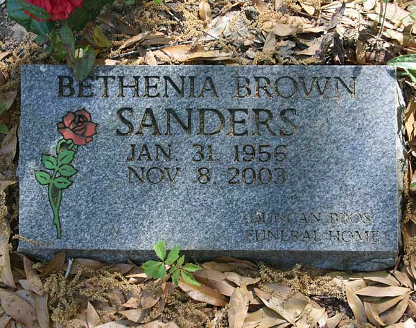 Bethenia Brown Sanders Gravestone Photo