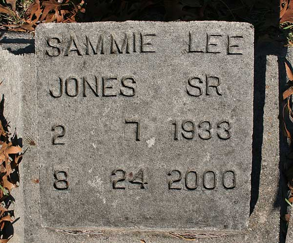 Sammie Lee Jones Gravestone Photo