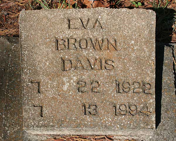 Eva Brown Davis Gravestone Photo