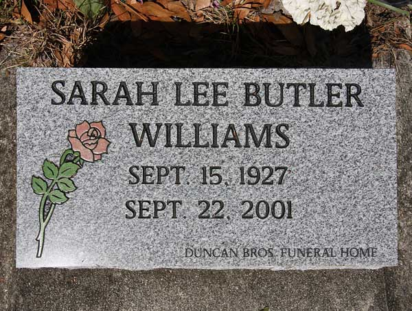 Sarah Lee Butler Williams Gravestone Photo
