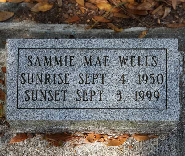Sammie Mae Wells Gravestone Photo