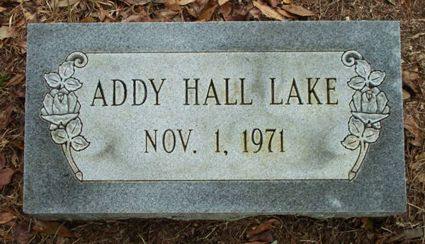 Addy Hall Lake Gravestone Photo
