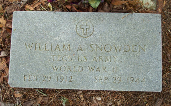 William A. Snowden Gravestone Photo