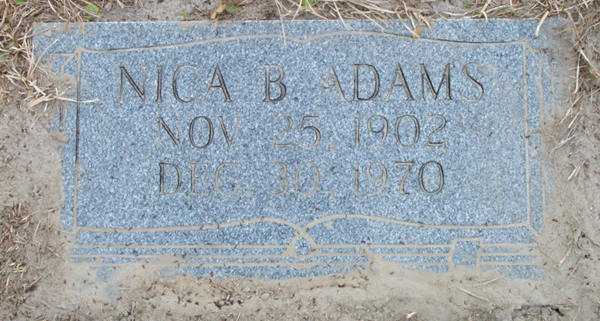 Nica B. Adams Gravestone Photo