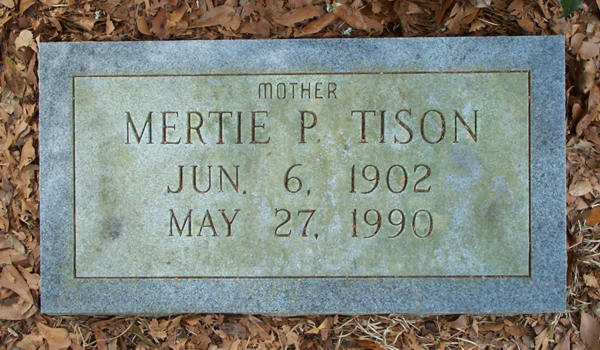 Mertie P. Tison Gravestone Photo