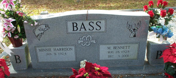 Minnie Harrison & M. Bennett Bass Gravestone Photo