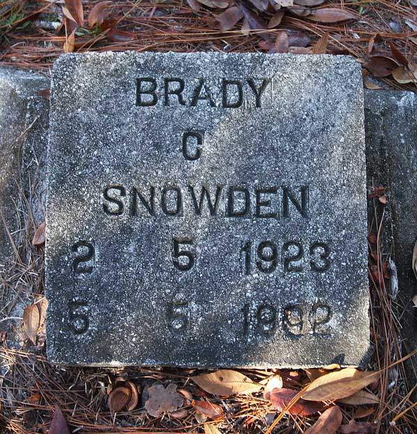Brady C Snowden Gravestone Photo