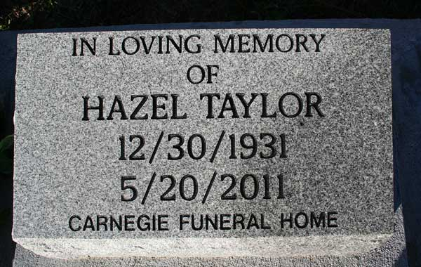 Hazel Taylor Gravestone Photo