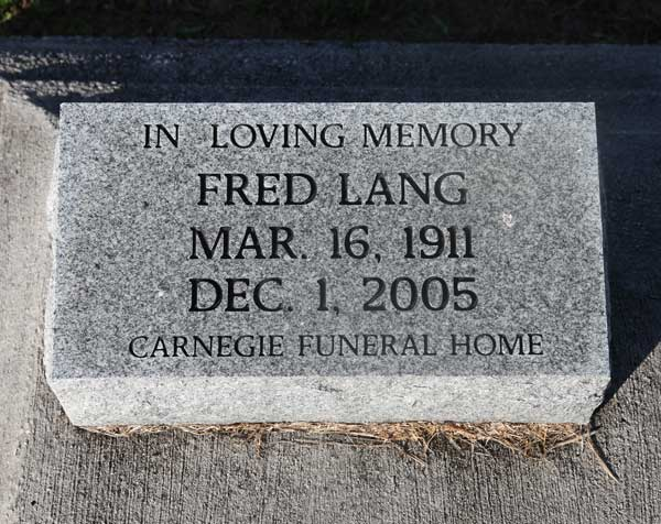 Fred Lang Gravestone Photo