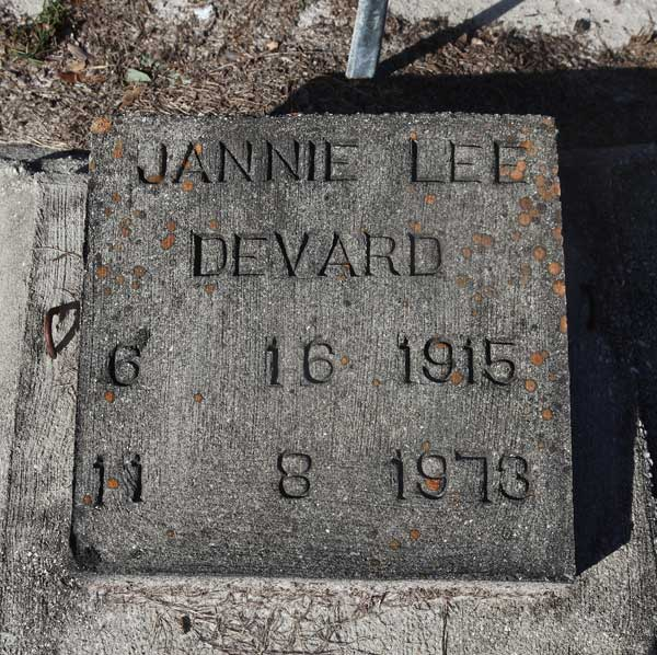 Jannie Lee Devard Gravestone Photo