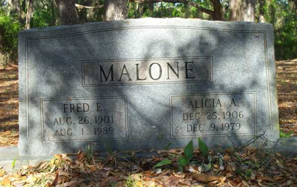 Fred E. & Alicia A. Malone Gravestone Photo
