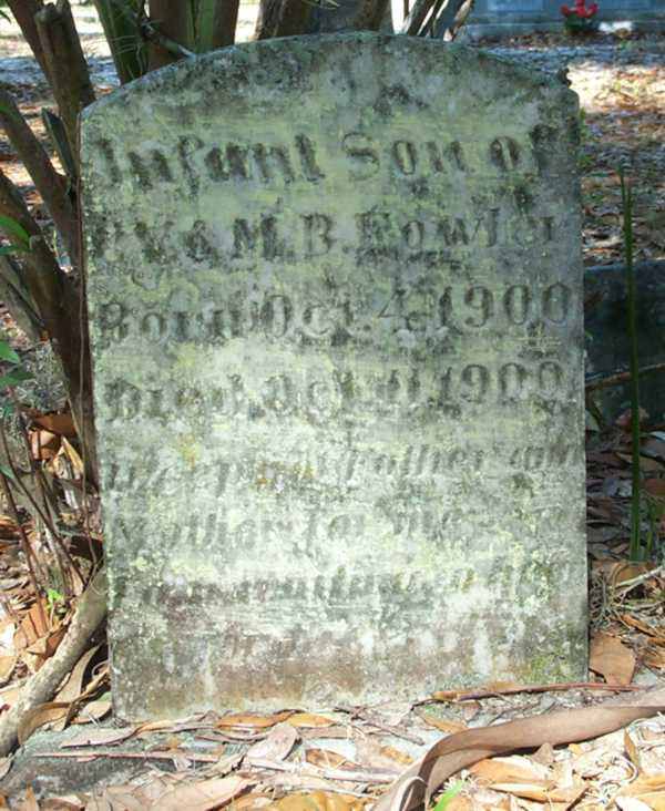 Infant Son Fowler Gravestone Photo