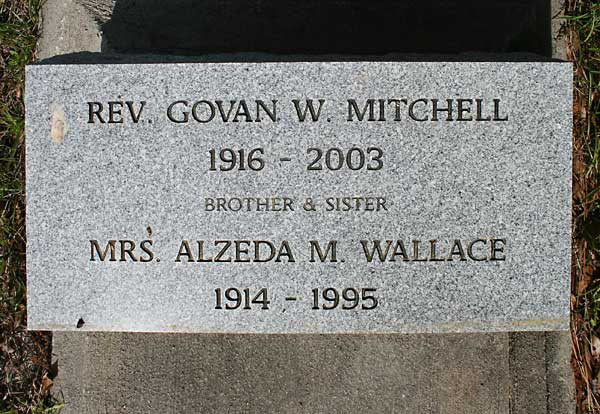 Mrs. Alzeda M. Wallace & Rev. Govan W. Mitchell Gravestone Photo
